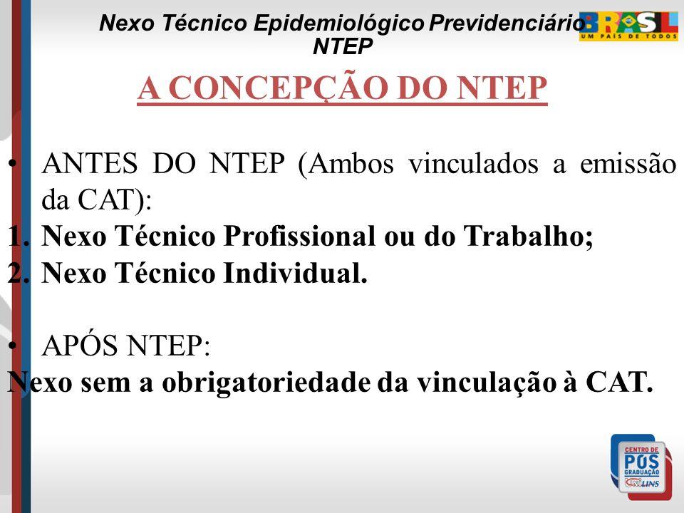 A CONCEPÇÃO DO NTEP ANTES DO NTEP (Ambos vinculados a emissão da CAT): 1.Nexo Técnico Profissional ou do Trabalho; 2.Nexo Técnico Individual.