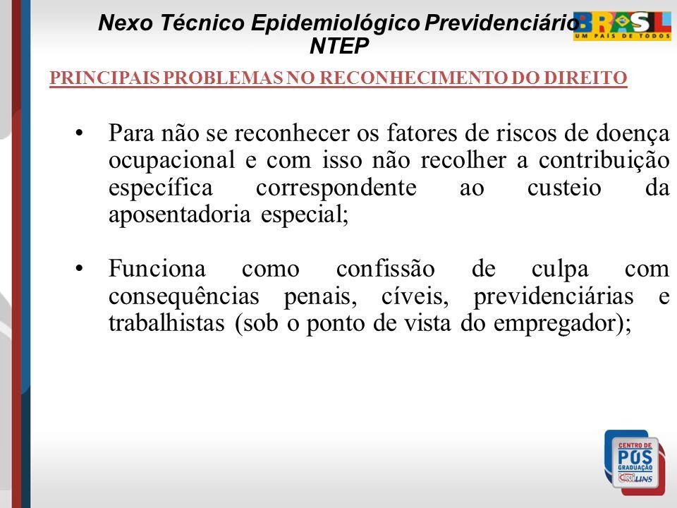 PRINCIPAIS PROBLEMAS NO RECONHECIMENTO DO DIREITO 1.A Subnotificação das Doenças e Acidentes do Trabalho; 2.Sistema informatizado da Perícia; A Subnot