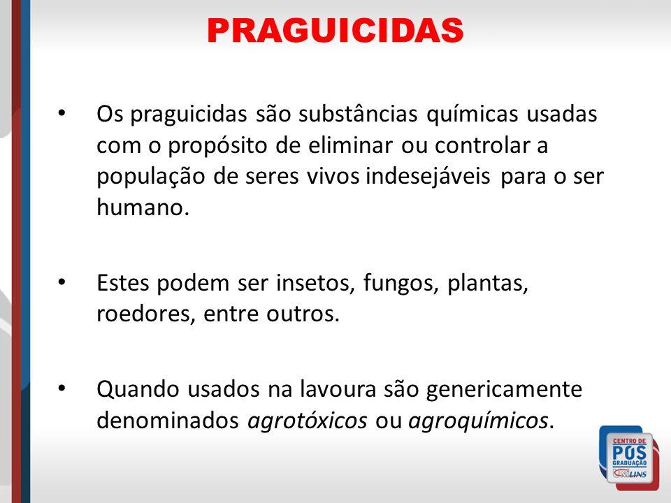 Os praguicidas são substâncias químicas usadas com o propósito de eliminar ou controlar a população de seres vivos indesejáveis para o ser humano. Est