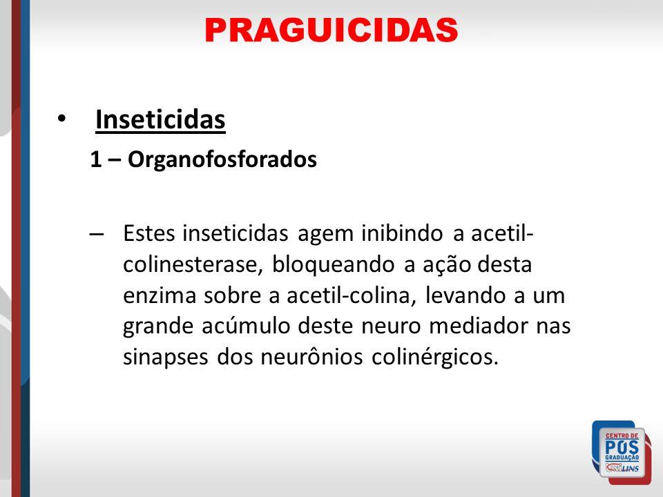 PRAGUICIDAS Inseticidas 1 – Organofosforados – Estes inseticidas agem inibindo a acetil- colinesterase, bloqueando a ação desta enzima sobre a acetil-
