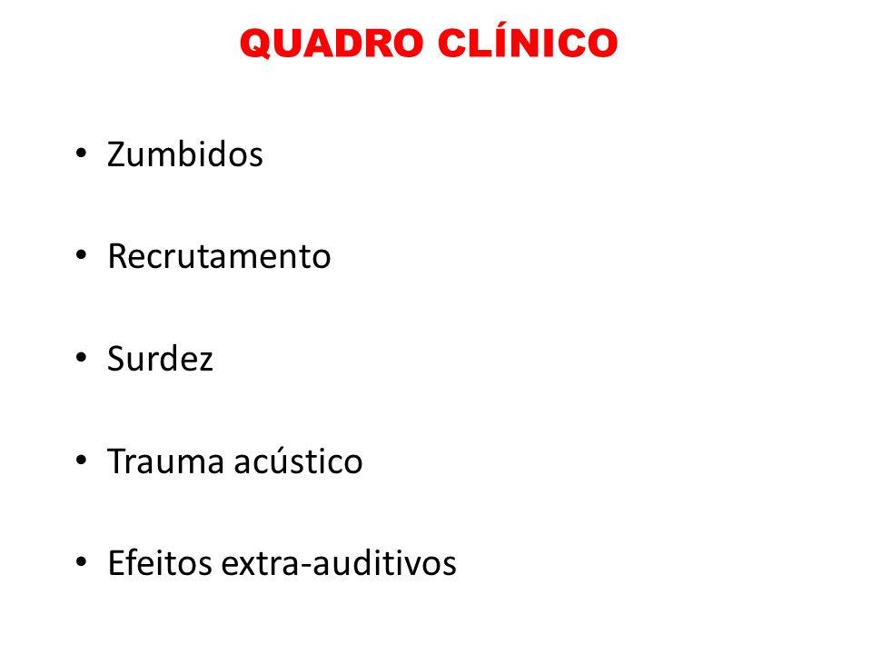 QUADRO CLÍNICO Zumbidos Recrutamento Surdez Trauma acústico Efeitos extra-auditivos