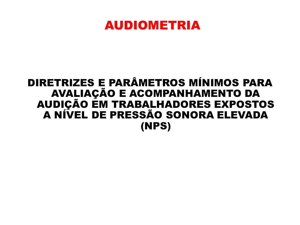 AUDIOMETRIA DIRETRIZES E PARÂMETROS MÍNIMOS PARA AVALIAÇÃO E ACOMPANHAMENTO DA AUDIÇÃO EM TRABALHADORES EXPOSTOS A NÍVEL DE PRESSÃO SONORA ELEVADA (NP