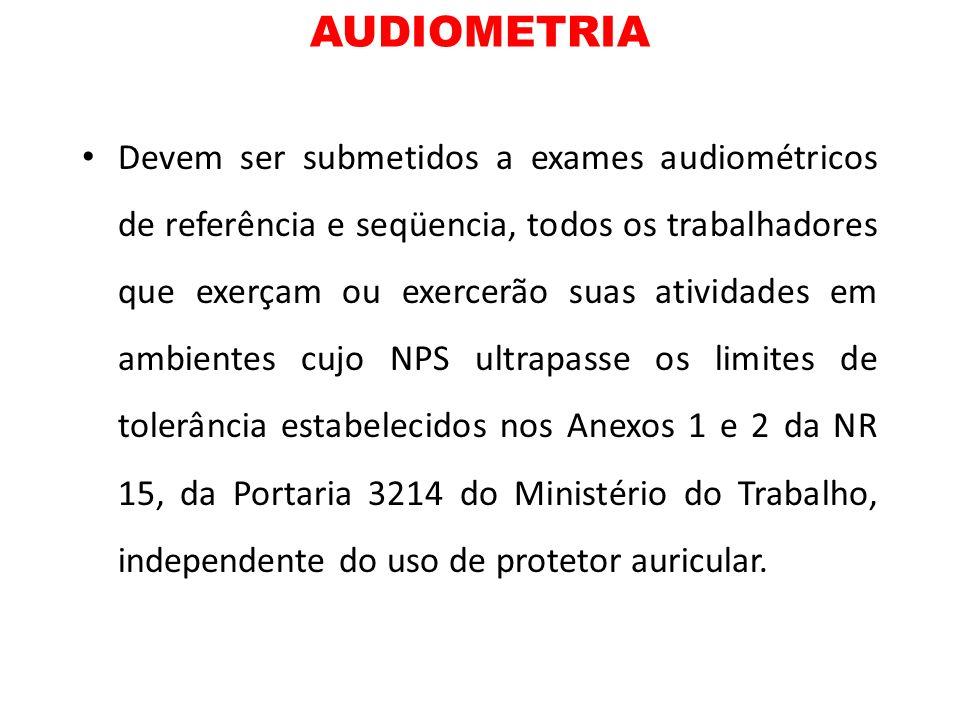 AUDIOMETRIA Devem ser submetidos a exames audiométricos de referência e seqüencia, todos os trabalhadores que exerçam ou exercerão suas atividades em