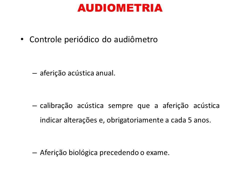 AUDIOMETRIA Controle periódico do audiômetro – aferição acústica anual. – calibração acústica sempre que a aferição acústica indicar alterações e, obr