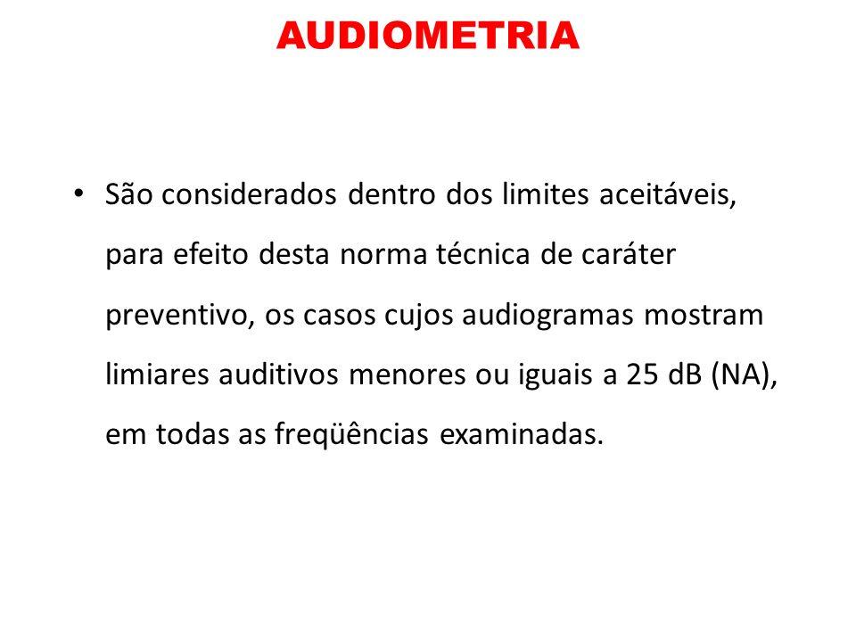 AUDIOMETRIA São considerados dentro dos limites aceitáveis, para efeito desta norma técnica de caráter preventivo, os casos cujos audiogramas mostram