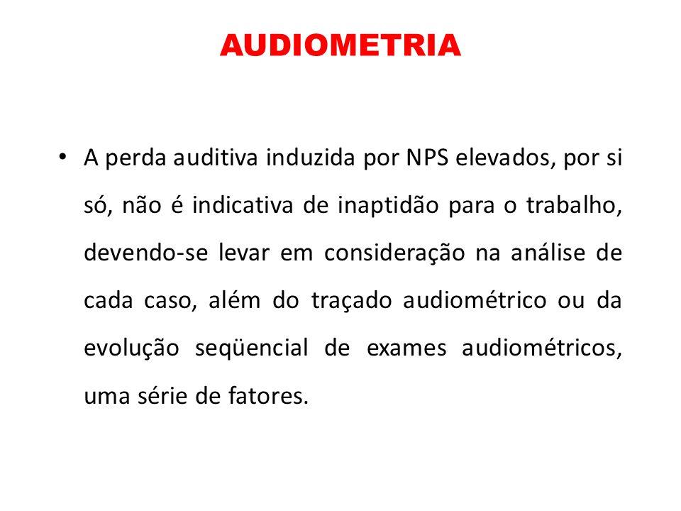 AUDIOMETRIA A perda auditiva induzida por NPS elevados, por si só, não é indicativa de inaptidão para o trabalho, devendo-se levar em consideração na