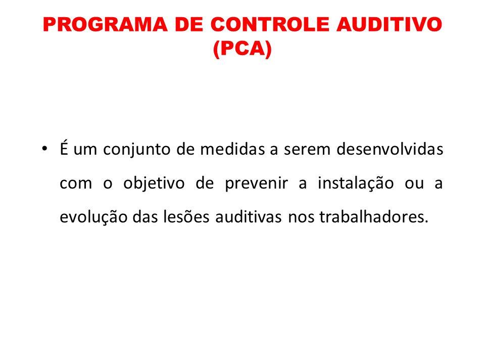 PROGRAMA DE CONTROLE AUDITIVO (PCA) É um conjunto de medidas a serem desenvolvidas com o objetivo de prevenir a instalação ou a evolução das lesões au