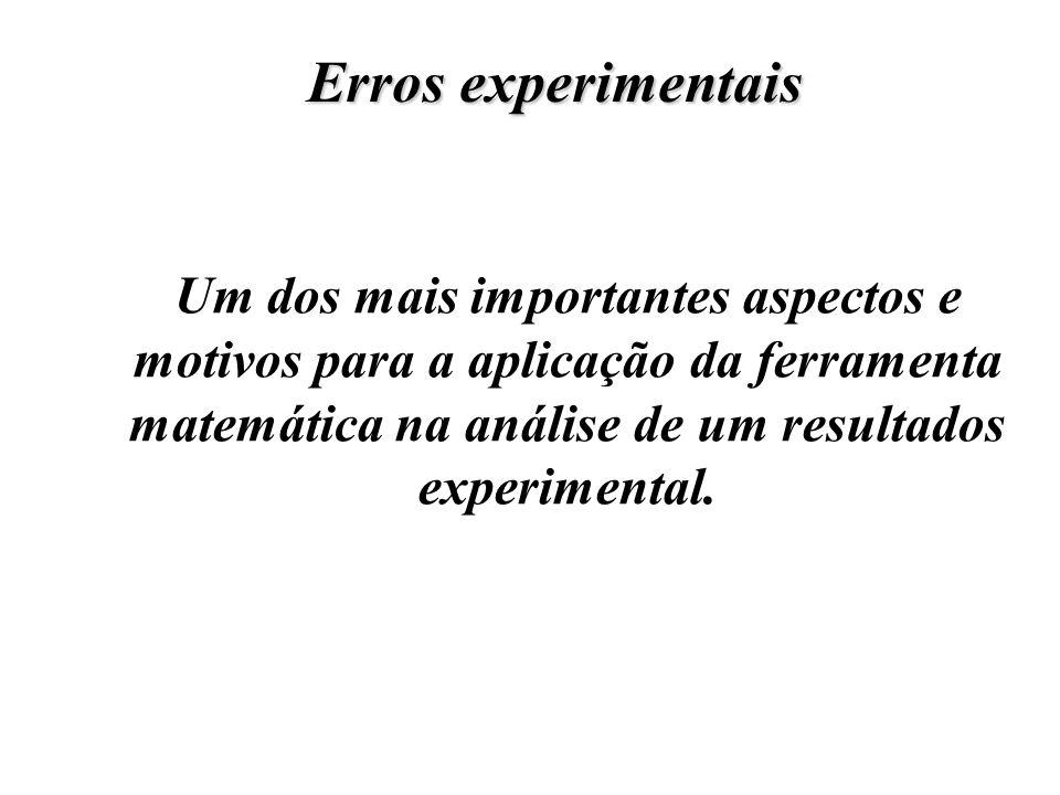 Um dos mais importantes aspectos e motivos para a aplicação da ferramenta matemática na análise de um resultados experimental. Erros experimentais