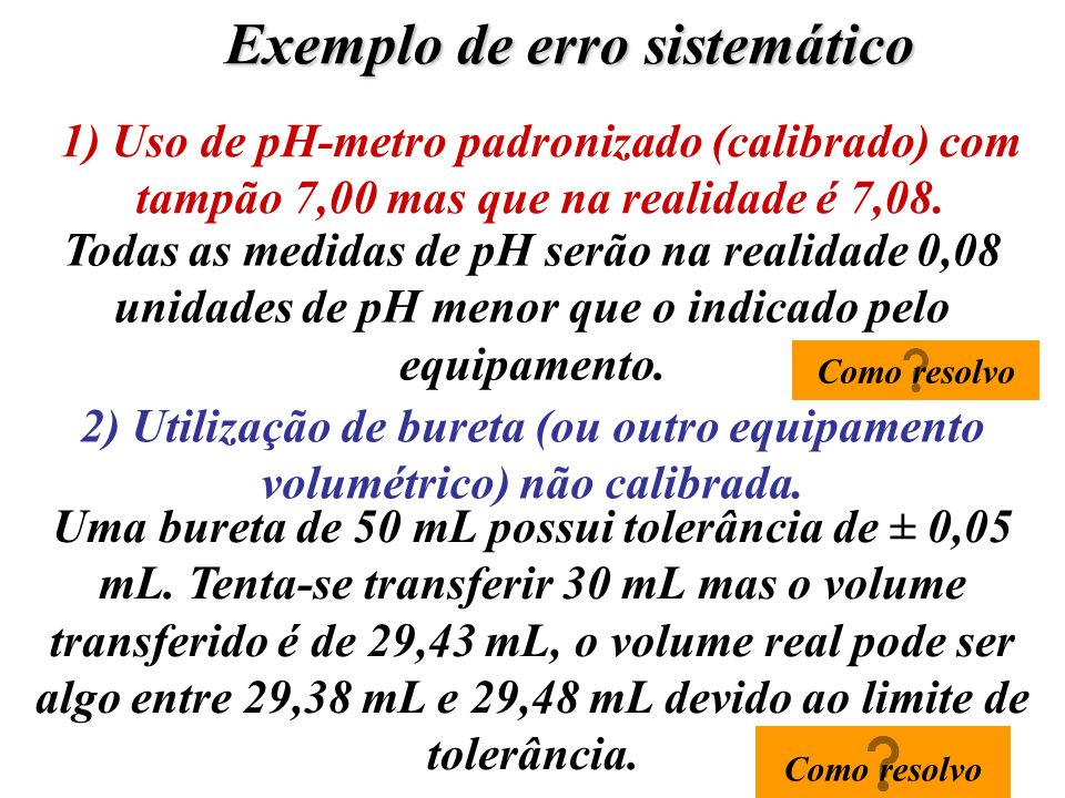 Exemplo de erro sistemático 1) Uso de pH-metro padronizado (calibrado) com tampão 7,00 mas que na realidade é 7,08. Todas as medidas de pH serão na re