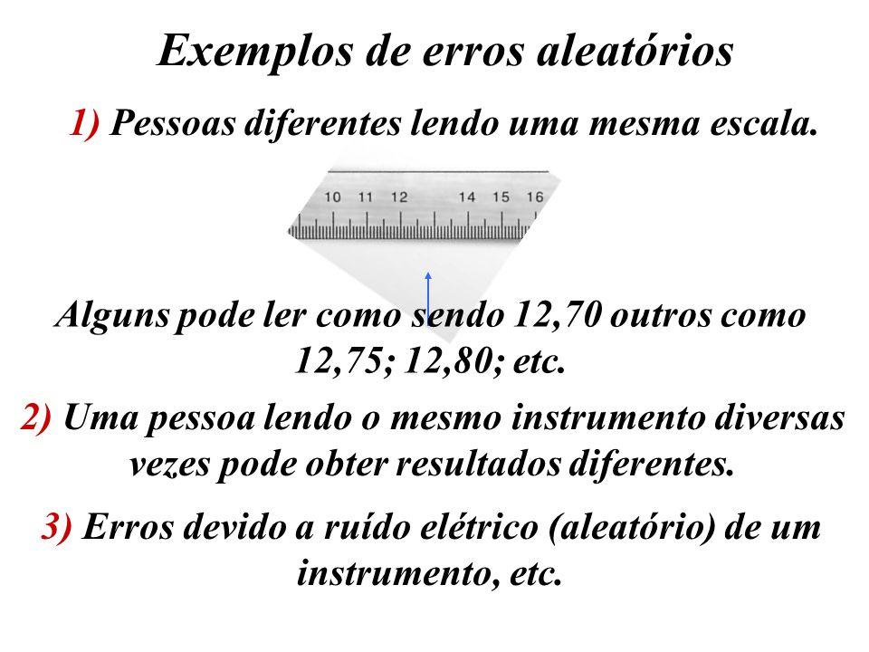 Exemplos de erros aleatórios 1) Pessoas diferentes lendo uma mesma escala. Alguns pode ler como sendo 12,70 outros como 12,75; 12,80; etc. 2) Uma pess