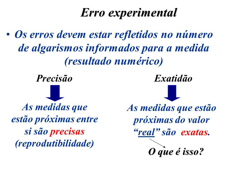 Os erros devem estar refletidos no número de algarismos informados para a medida (resultado numérico) Erro experimental PrecisãoExatidão As medidas qu