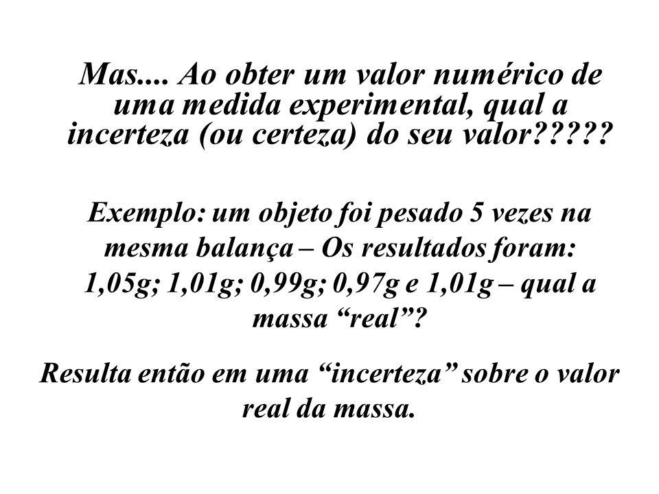 Mas.... Ao obter um valor numérico de uma medida experimental, qual a incerteza (ou certeza) do seu valor????? Exemplo: um objeto foi pesado 5 vezes n