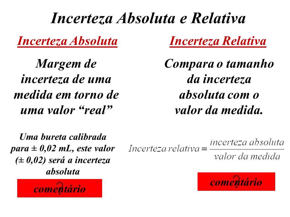 Incerteza Absoluta e Relativa Incerteza Absoluta Margem de incerteza de uma medida em torno de uma valor real Uma bureta calibrada para ± 0,02 mL, est