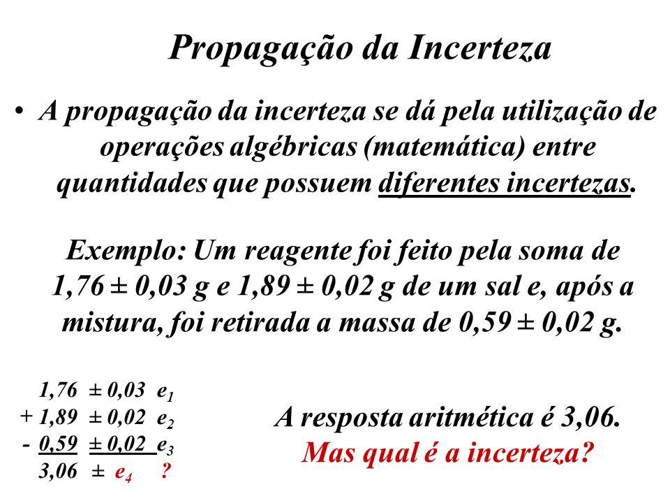 Propagação da Incerteza A propagação da incerteza se dá pela utilização de operações algébricas (matemática) entre quantidades que possuem diferentes