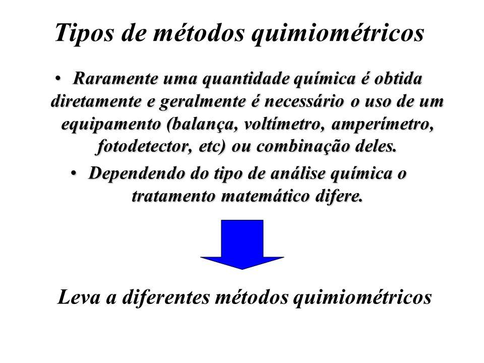 Tipos de métodos quimiométricos Raramente uma quantidade química é obtida diretamente e geralmente é necessário o uso de um equipamento (balança, volt