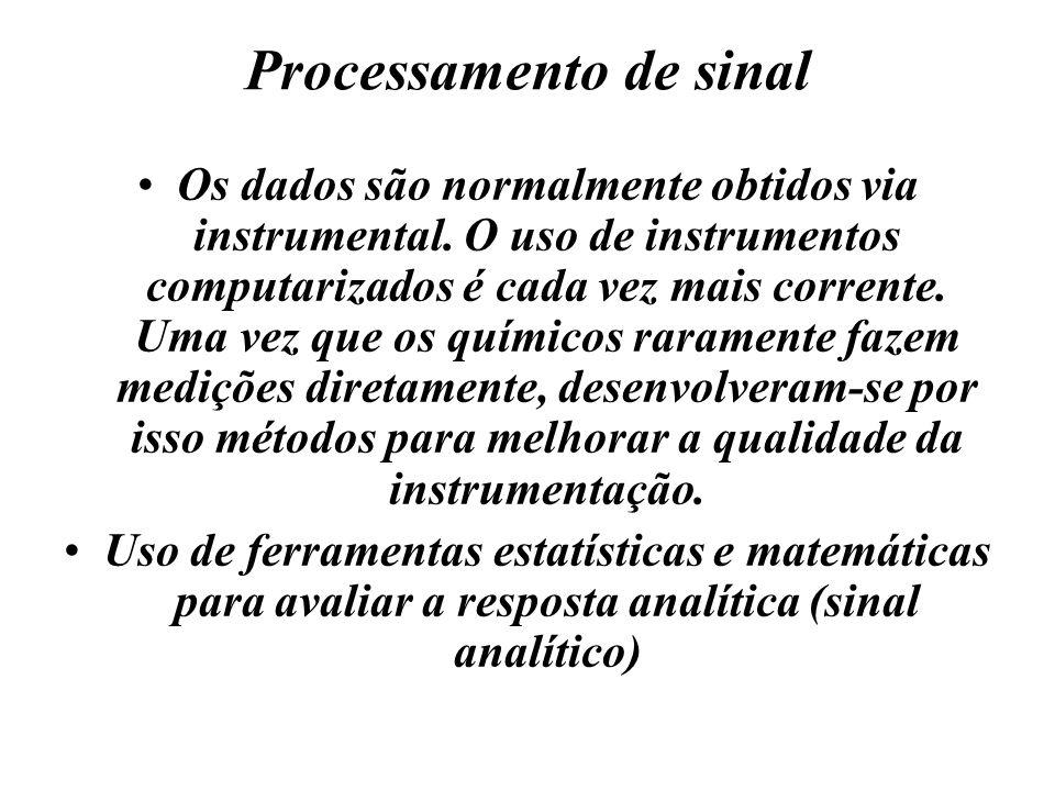 Processamento de sinal Os dados são normalmente obtidos via instrumental. O uso de instrumentos computarizados é cada vez mais corrente. Uma vez que o