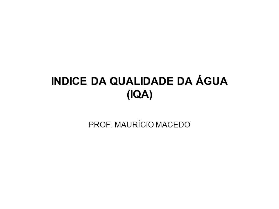 INDICE DA QUALIDADE DA ÁGUA (IQA) PROF. MAURÍCIO MACEDO