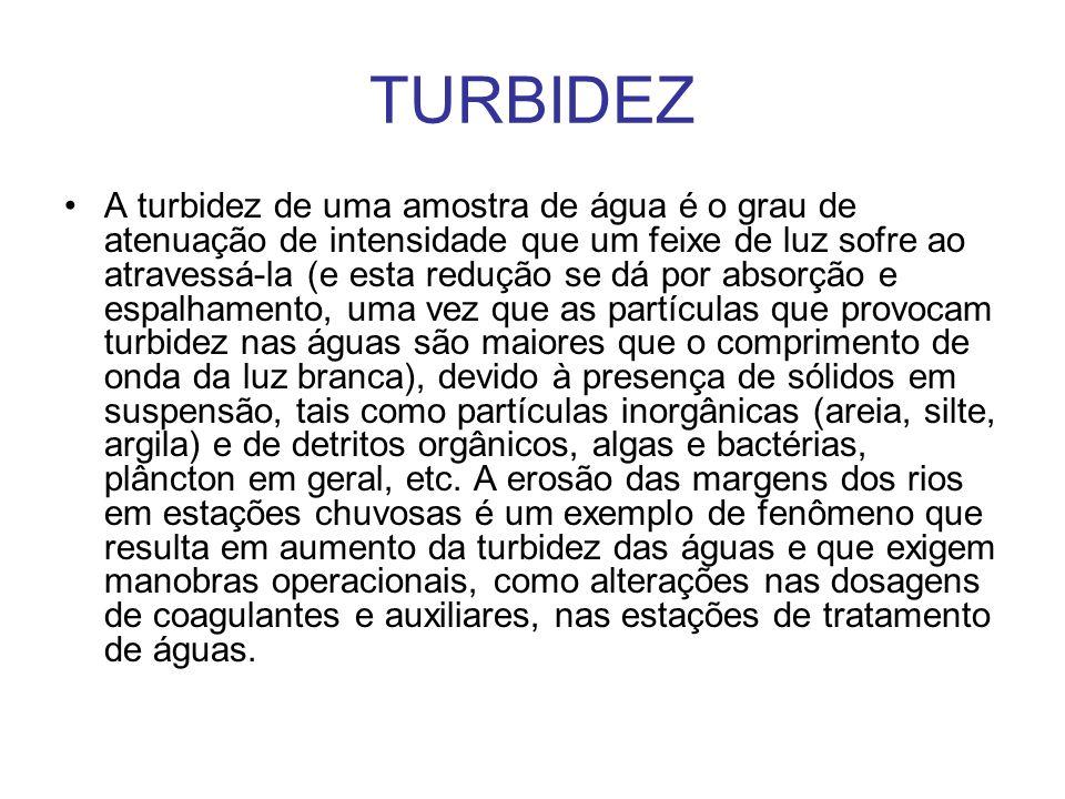 A turbidez de uma amostra de água é o grau de atenuação de intensidade que um feixe de luz sofre ao atravessá-la (e esta redução se dá por absorção e