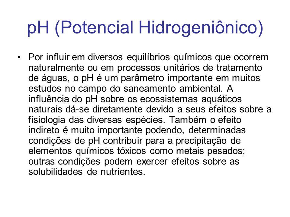 Por influir em diversos equilíbrios químicos que ocorrem naturalmente ou em processos unitários de tratamento de águas, o pH é um parâmetro importante