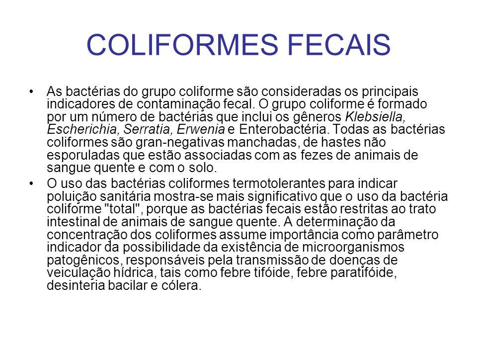 As bactérias do grupo coliforme são consideradas os principais indicadores de contaminação fecal. O grupo coliforme é formado por um número de bactéri