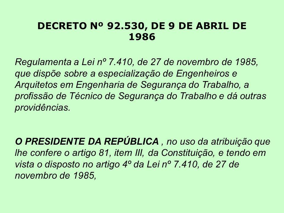 DECRETO Nº 92.530, DE 9 DE ABRIL DE 1986 Regulamenta a Lei nº 7.410, de 27 de novembro de 1985, que dispõe sobre a especialização de Engenheiros e Arq