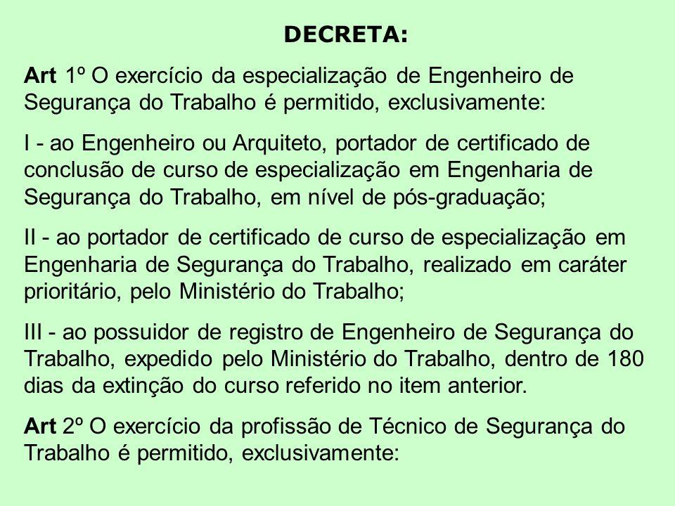 DECRETA: Art 1º O exercício da especialização de Engenheiro de Segurança do Trabalho é permitido, exclusivamente: I - ao Engenheiro ou Arquiteto, port