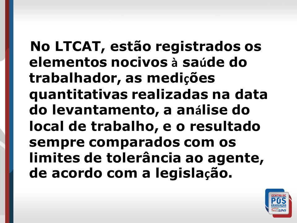 No LTCAT, estão registrados os elementos nocivos à sa ú de do trabalhador, as medi ç ões quantitativas realizadas na data do levantamento, a an á lise do local de trabalho, e o resultado sempre comparados com os limites de tolerância ao agente, de acordo com a legisla ç ão.