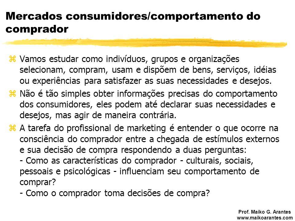 Prof. Maiko G. Arantes www.maikoarantes.com Mercados consumidores/comportamento do comprador zVamos estudar como indivíduos, grupos e organizações sel