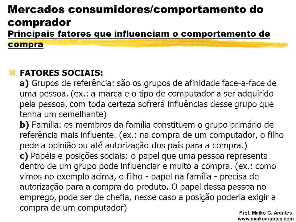 Prof. Maiko G. Arantes www.maikoarantes.com zFATORES SOCIAIS: a) Grupos de referência: são os grupos de afinidade face-a-face de uma pessoa. (ex.: a m