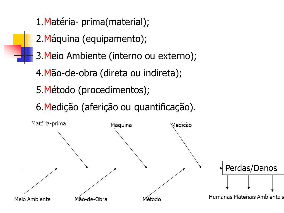 1.Matéria- prima(material); 2.Máquina (equipamento); 3.Meio Ambiente (interno ou externo); 4.Mão-de-obra (direta ou indireta); 5.Método (procedimentos