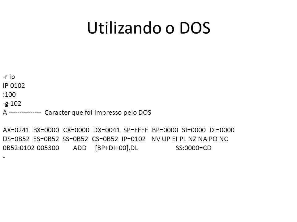 Utilizando o DOS -r ip IP 0102 :100 -g 102 A --------------- Caracter que foi impresso pelo DOS AX=0241 BX=0000 CX=0000 DX=0041 SP=FFEE BP=0000 SI=0000 DI=0000 DS=0B52 ES=0B52 SS=0B52 CS=0B52 IP=0102 NV UP EI PL NZ NA PO NC 0B52:0102 005300 ADD [BP+DI+00],DL SS:0000=CD -