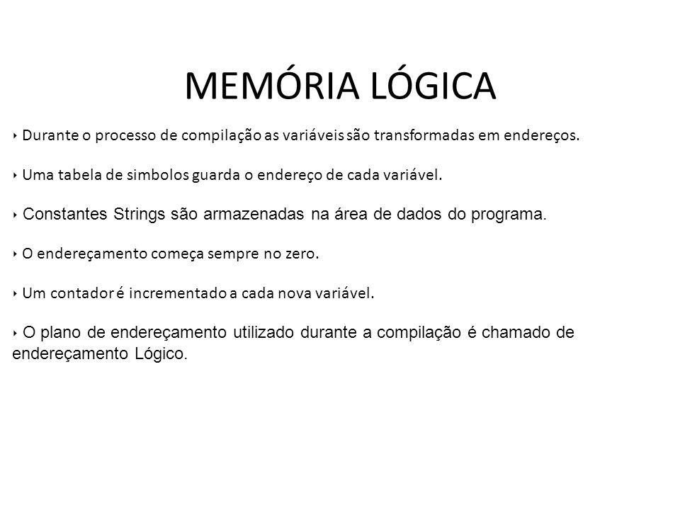 MEMÓRIA LÓGICA Durante o processo de compilação as variáveis são transformadas em endereços.
