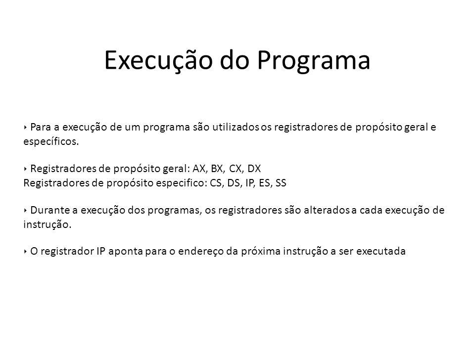 Execução do Programa Para a execução de um programa são utilizados os registradores de propósito geral e específicos. Registradores de propósito geral