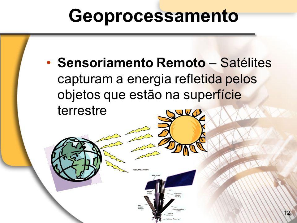 Geoprocessamento Sensoriamento Remoto – Satélites capturam a energia refletida pelos objetos que estão na superfície terrestre 12