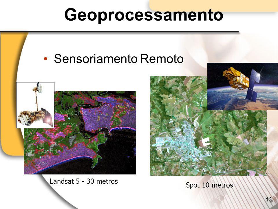 Geoprocessamento Sensoriamento Remoto Landsat 5 - 30 metros Spot 10 metros 13
