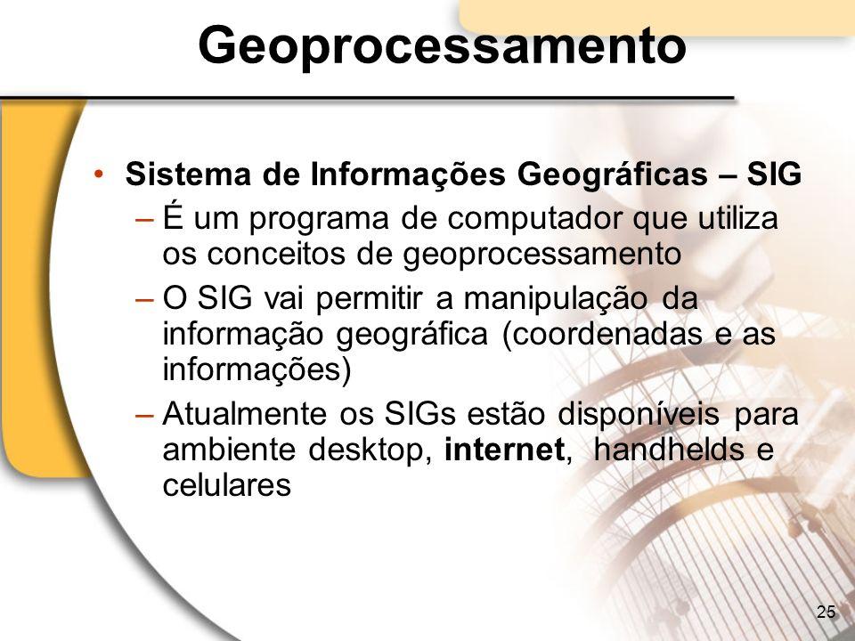 Geoprocessamento Sistema de Informações Geográficas – SIG –É um programa de computador que utiliza os conceitos de geoprocessamento –O SIG vai permiti