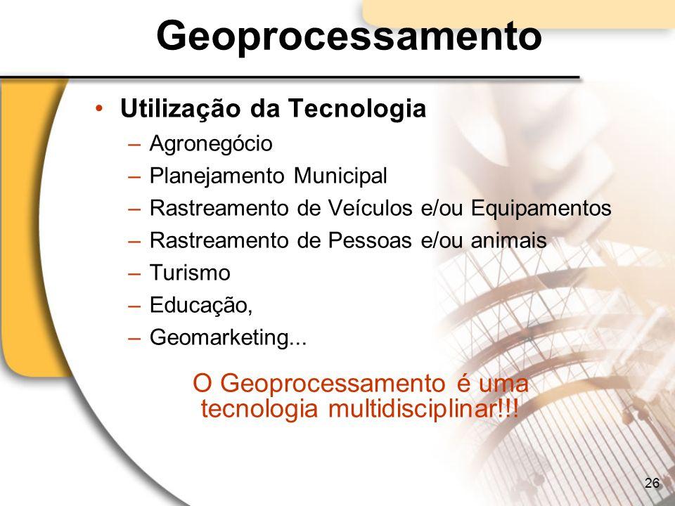 Geoprocessamento Utilização da Tecnologia –Agronegócio –Planejamento Municipal –Rastreamento de Veículos e/ou Equipamentos –Rastreamento de Pessoas e/