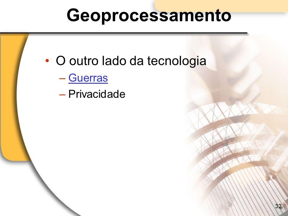 Geoprocessamento O outro lado da tecnologia –GuerrasGuerras –Privacidade 32