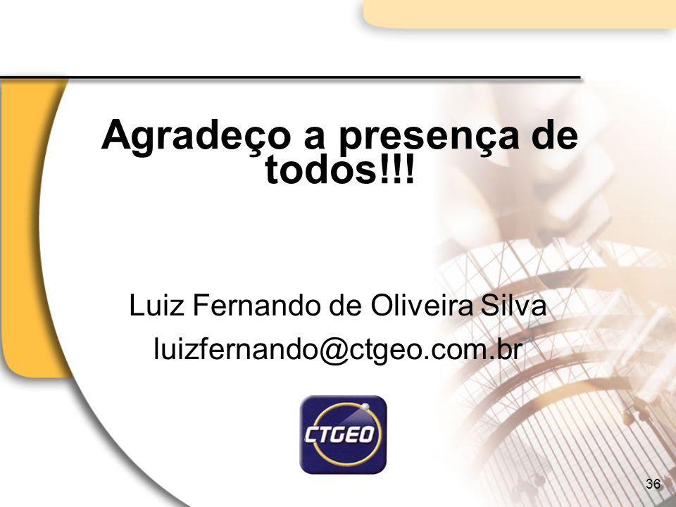Agradeço a presença de todos!!! Luiz Fernando de Oliveira Silva luizfernando@ctgeo.com.br 36