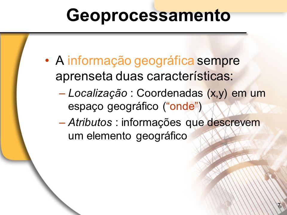 Geoprocessamento A informação geográfica sempre aprenseta duas características: –Localização : Coordenadas (x,y) em um espaço geográfico (onde) –Atrib