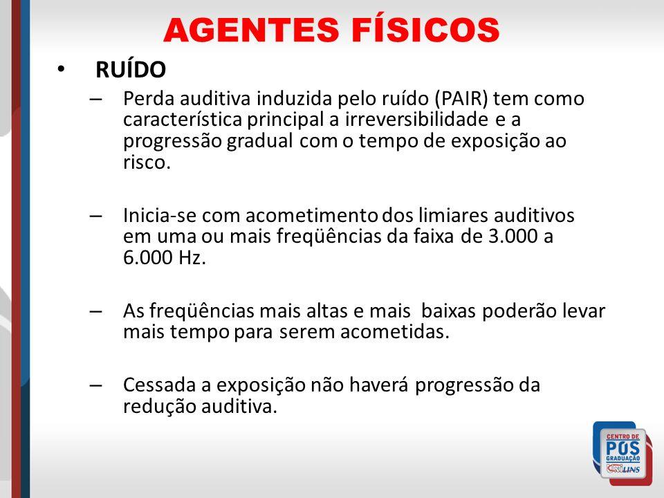 AGENTES FÍSICOS RUÍDO – Perda auditiva induzida pelo ruído (PAIR) tem como característica principal a irreversibilidade e a progressão gradual com o t