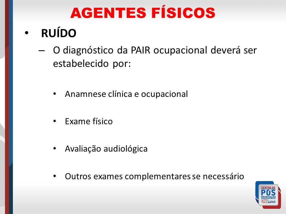 AGENTES FÍSICOS RUÍDO – O diagnóstico da PAIR ocupacional deverá ser estabelecido por: Anamnese clínica e ocupacional Exame físico Avaliação audiológi