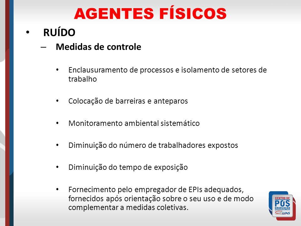 AGENTES FÍSICOS RUÍDO – Medidas de controle Enclausuramento de processos e isolamento de setores de trabalho Colocação de barreiras e anteparos Monito
