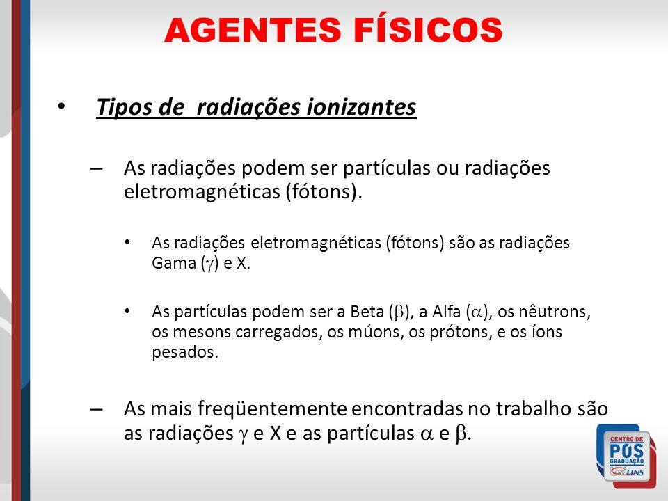 AGENTES FÍSICOS Tipos de radiações ionizantes – As radiações podem ser partículas ou radiações eletromagnéticas (fótons). As radiações eletromagnética