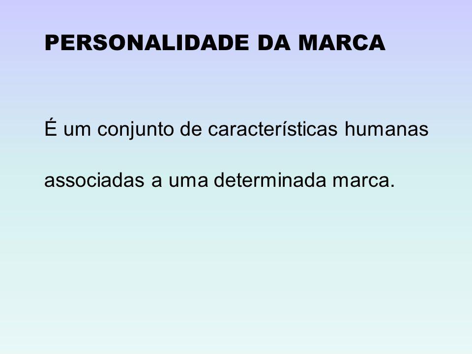 PERSONALIDADE DA MARCA É um conjunto de características humanas associadas a uma determinada marca.