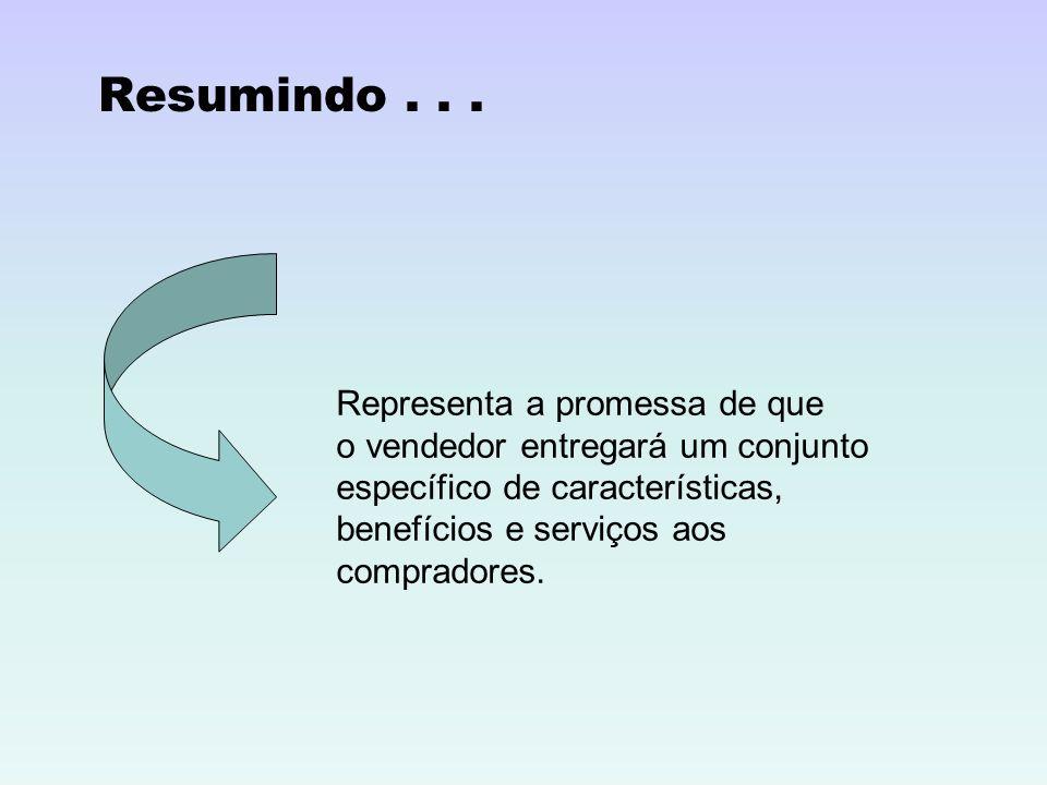 Resumindo... Representa a promessa de que o vendedor entregará um conjunto específico de características, benefícios e serviços aos compradores.
