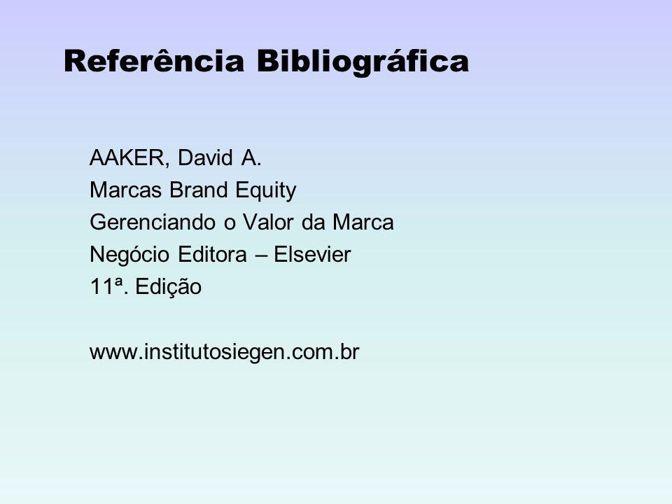 Referência Bibliográfica AAKER, David A. Marcas Brand Equity Gerenciando o Valor da Marca Negócio Editora – Elsevier 11ª. Edição www.institutosiegen.c