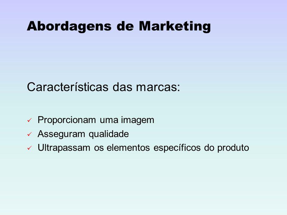 Abordagens de Marketing Características das marcas: Proporcionam uma imagem Asseguram qualidade Ultrapassam os elementos específicos do produto