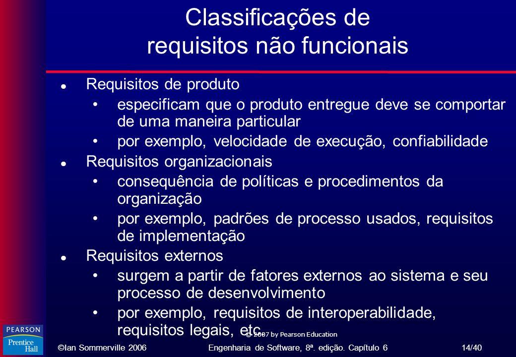 ©Ian Sommerville 2006Engenharia de Software, 8ª. edição. Capítulo 6 14/40 © 2007 by Pearson Education Classificações de requisitos não funcionais l Re