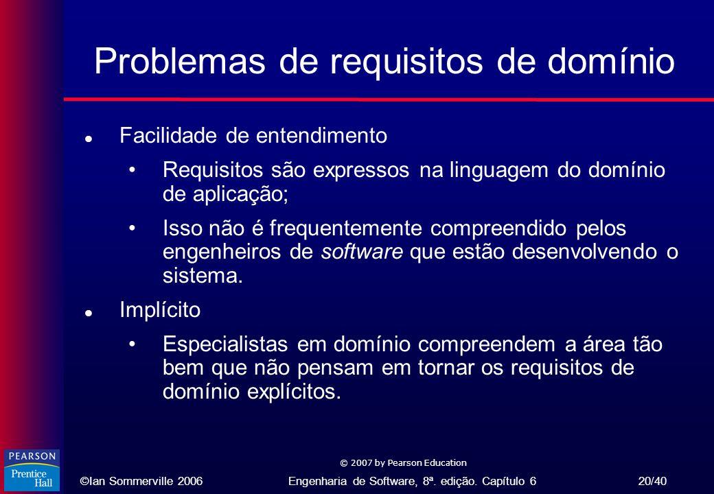 ©Ian Sommerville 2006Engenharia de Software, 8ª. edição. Capítulo 6 20/40 © 2007 by Pearson Education Problemas de requisitos de domínio l Facilidade